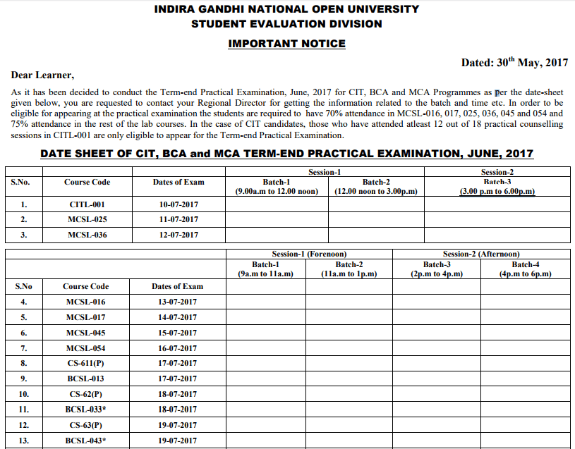 IGNOU Practicals: Exam Date Sheet, Hall Ticket, Result Dec