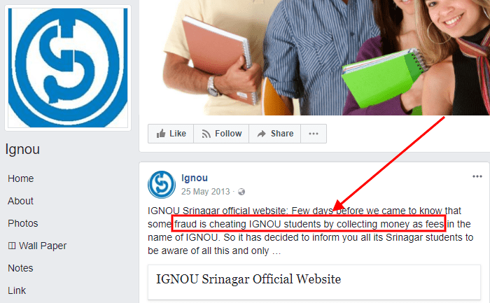 IGNOU Fees Fraud Cheating Case