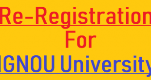 IGNOU Re Registration 2019