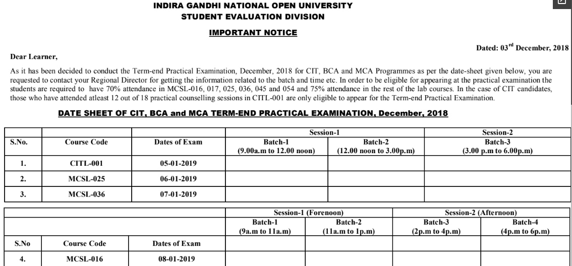 IGNOU Practicals: Exam Date Sheet, Hall Ticket, Result Dec-Jan 2019