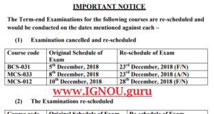 IGNOU Exam Date Sheet December 2018