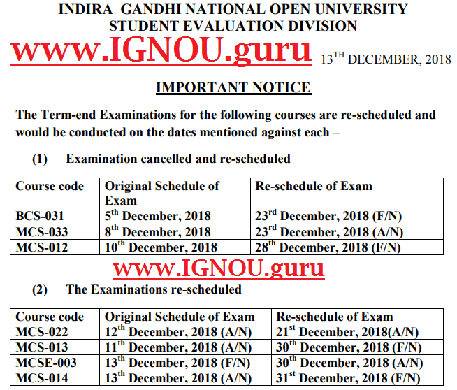 IGNOU Date Sheet June 2019: TEE Exam Time Table (Tentative PDF)