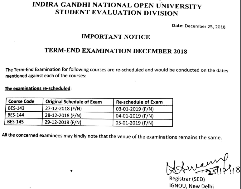 IGNOU New Notice of Exam Dates