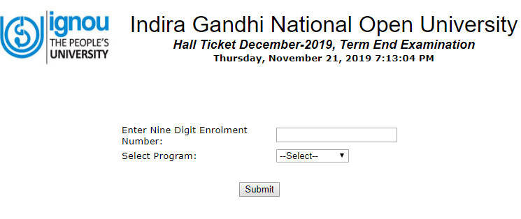 IGNOU Hall Ticket December 2019