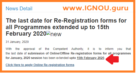 IGNOU New Re-Registration Date