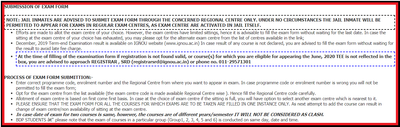 How to fill Exam Form of IGNOU