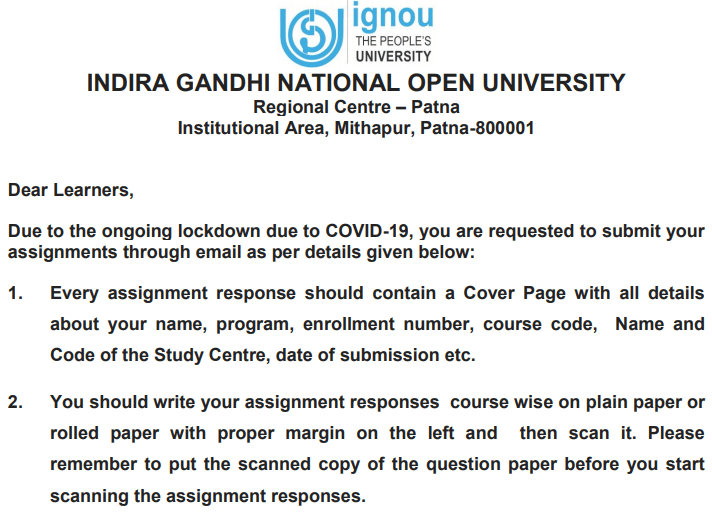 IGNOU Assignment Online Submit Notice