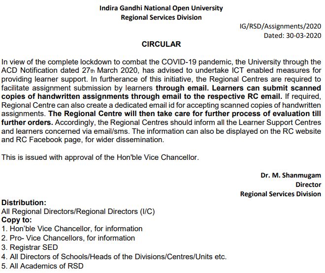 last date of submission of ignou assignments